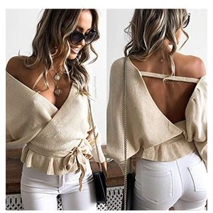 Oatmeal color open back spring sweater